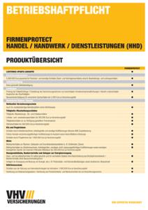 Produktübersicht FIRMENPROTECT Betriebshaftpflicht HHD