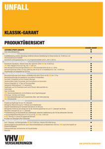 Produktübersicht Unfall KLASSIK-GARANT