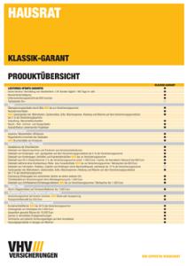 Produktübersicht Hausratversicherung